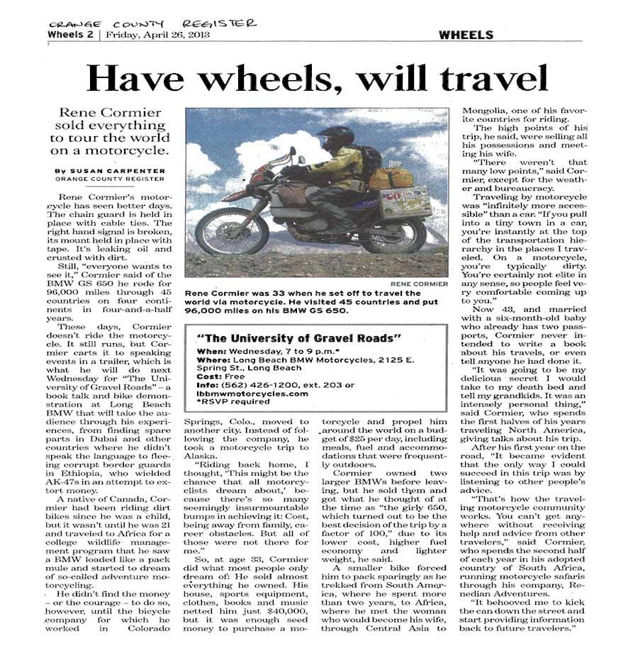 Orange County Registar - Rene Cormier, Have Wheels Will Travel