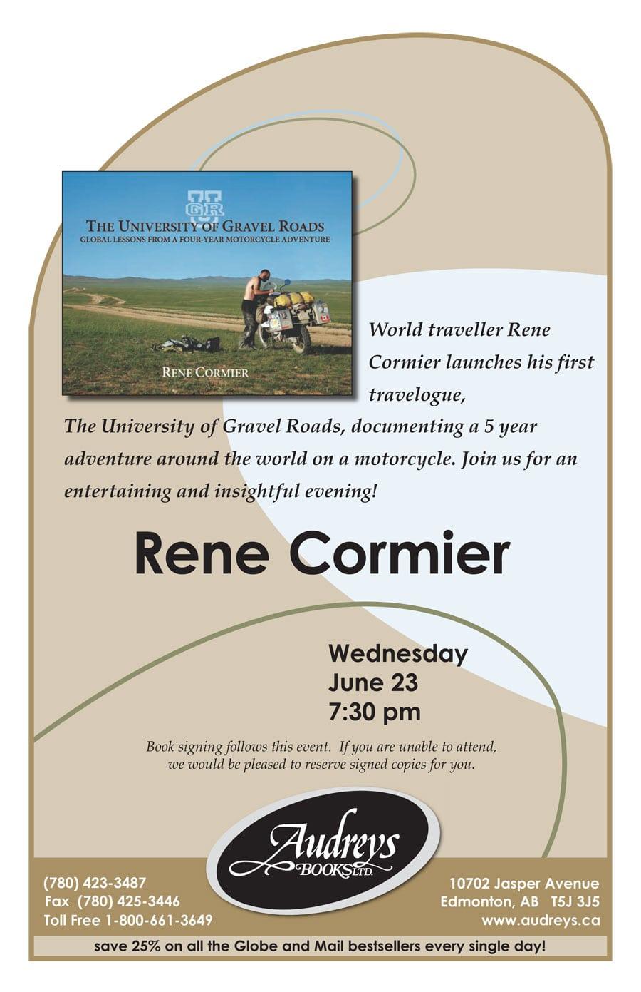 Slideshow and talk at Audrey's Books, Edmonton - Rene Cormier
