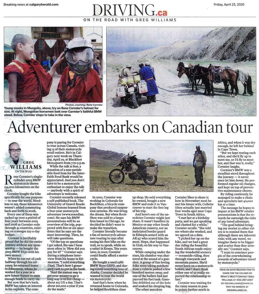 Interview Calgary Herald - Rene Cormier