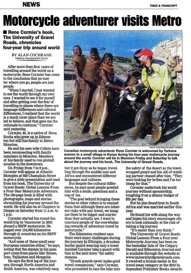 Interview Times & Transcript, Moncton - Rene Cormier