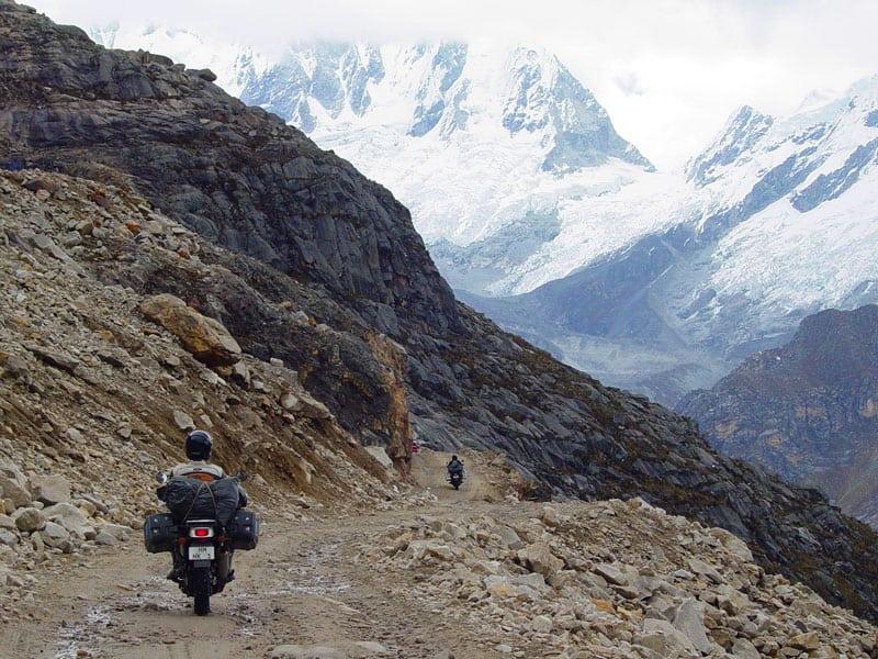 Riding through Olympia Pass in Peru