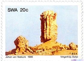 stamp vingerklip outjo - johan van niekerk 1986 small Vingerklip and Mûgorob
