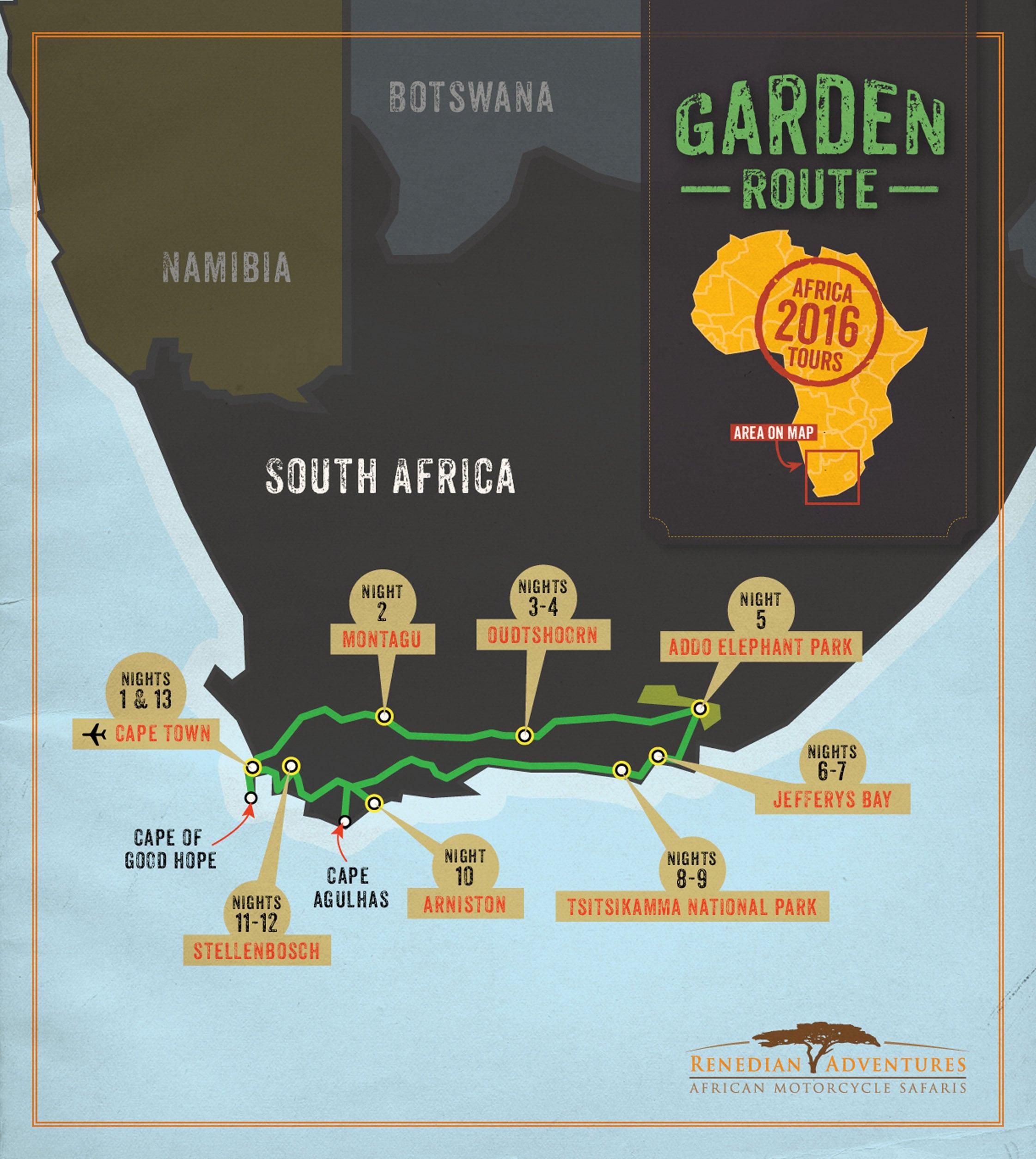 Garden Route Motorcycle Safari Itinerary: 2016_Rene WebMaps_GR_v2